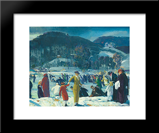 Love Of Winter: Modern Black Framed Art Print by George Bellows
