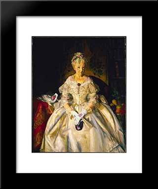 Mrs. T In Cream Silk, No. 2: Modern Black Framed Art Print by George Bellows