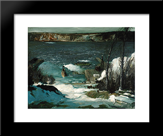 North River: Modern Black Framed Art Print by George Bellows