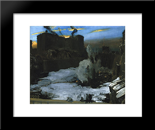 Pennsylvania Station Excavation: Modern Black Framed Art Print by George Bellows
