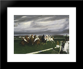 Polo At Lakewood: Modern Black Framed Art Print by George Bellows