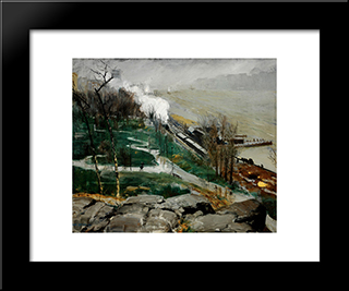 Rain On The River: Modern Black Framed Art Print by George Bellows