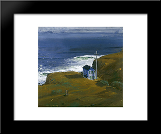 Shore House: Modern Black Framed Art Print by George Bellows