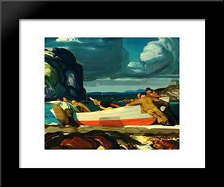 The Big Dory: Modern Black Framed Art Print by George Bellows