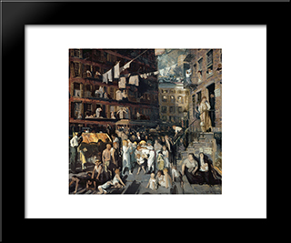 The Cliff Dwellers: Modern Black Framed Art Print by George Bellows