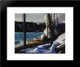 The Palisades: Modern Black Framed Art Print by George Bellows