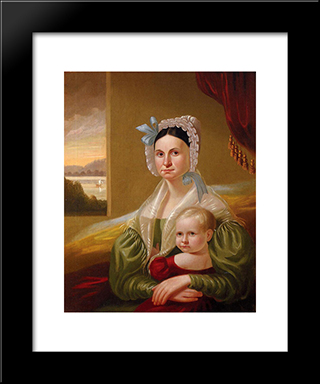 Mrs. David Steele Lamme And Son, William Wirt: Modern Black Framed Art Print by George Caleb Bingham