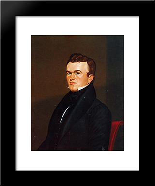 Self-Portrait: Modern Black Framed Art Print by George Caleb Bingham