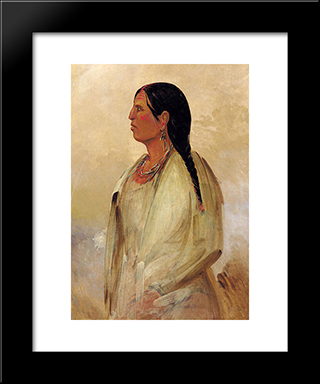 A Choctaw Woman: Modern Black Framed Art Print by George Catlin