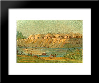 A Village Of The Hidatsa Tribe At Knife River: Modern Black Framed Art Print by George Catlin