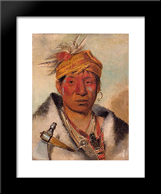 Ah-Yaw-Ne-Tak-Oar-Ron, A Warrior: Modern Black Framed Art Print by George Catlin