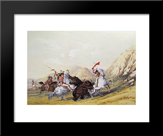 Attacking The Grizzly Bear: Modern Black Framed Art Print by George Catlin