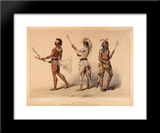 Ball Players: Modern Black Framed Art Print by George Catlin