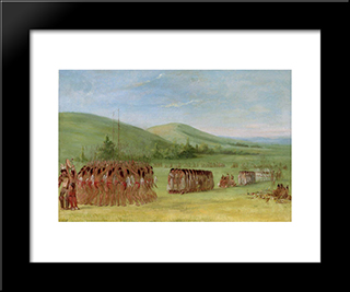 Ball-Play Dance: Modern Black Framed Art Print by George Catlin