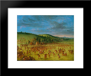 Ball-Play Of The Choctaw--Ball Up: Modern Black Framed Art Print by George Catlin
