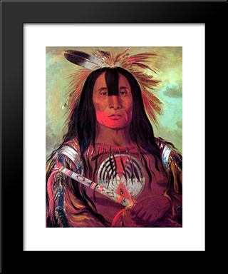 Buffalo Bull'S Back Fat (Stu-Mick-O-Socks) Head Chief Of The Blood Tribe (Blackfoot): Custom Black Wood Framed Art Print by George Catlin