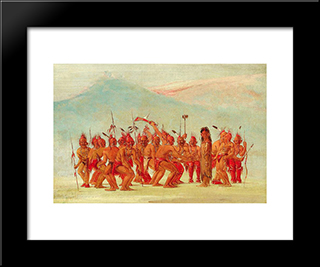 Dance To The Berdache (Sac And Fox): Modern Black Framed Art Print by George Catlin