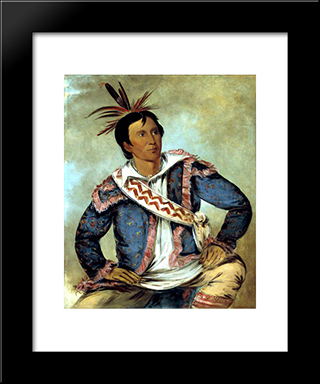 Ha-Tchoo-Toc-Knee, Snapping Turtle, A Half-Breed: Custom Black Wood Framed Art Print by George Catlin