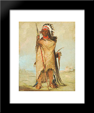 Ho-Ra-To-A, A Brave, Fort Union (Crowapsaalooke): Modern Black Framed Art Print by George Catlin