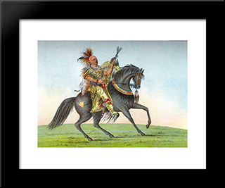 Kee-O-Kuk (The Running Fox): Modern Black Framed Art Print by George Catlin