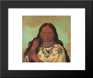 Kei-A-Gis-Gis, A Woman Of The Plains Ojibwa: Modern Black Framed Art Print by George Catlin