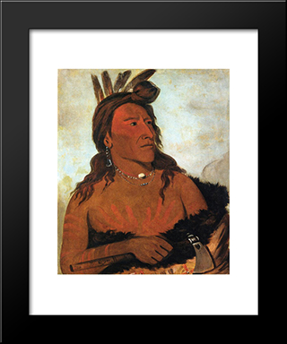Little Bear, Hunkpapa Brave: Modern Black Framed Art Print by George Catlin