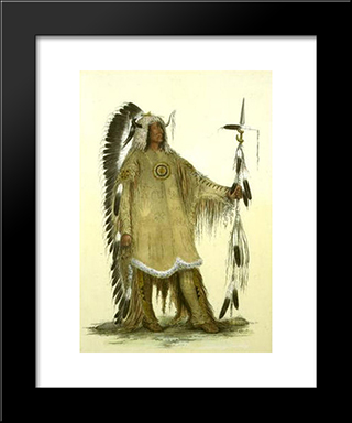Mah-To-Toh-Pe (Four Bears, Mandan Chief): Modern Black Framed Art Print by George Catlin