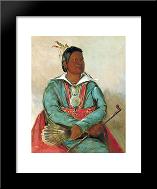 Mo-Sho-La-Tob-Bee, He Who Puts Out And Kills, Chief Of The Tribe: Custom Black Wood Framed Art Print by George Catlin