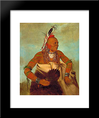 Osage Warrior Of The Wha-Sha-She Band (A Subdivision Of Hunkah): Modern Black Framed Art Print by George Catlin