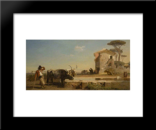 Cattle At A Drinking Place In The Campagna, Rome: Modern Black Framed Art Print by George Hemming Mason