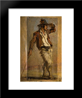 Goatherd Of The Campagna: Modern Black Framed Art Print by George Hemming Mason