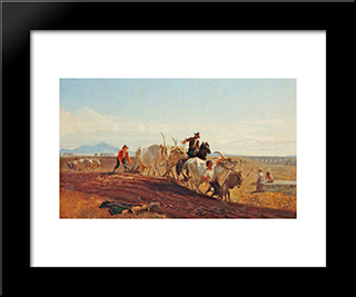 Ploughing In The Campagna: Modern Black Framed Art Print by George Hemming Mason