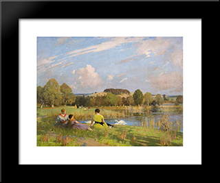 A September Day: Modern Black Framed Art Print by George Henry