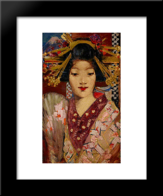 Geisha Girl: Modern Black Framed Art Print by George Henry
