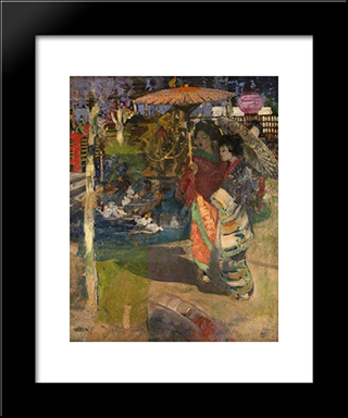 In A Japanese Garden: Modern Black Framed Art Print by George Henry