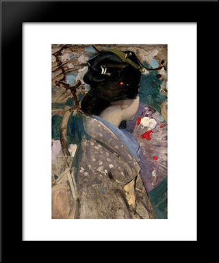 Japanese Lady With A Fan: Modern Black Framed Art Print by George Henry