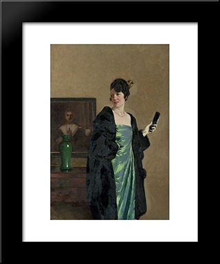Lady In A Green Dress: Modern Black Framed Art Print by George Henry
