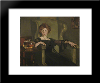Lady With Goldfish: Modern Black Framed Art Print by George Henry