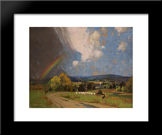 Landscape With Rainbow: Modern Black Framed Art Print by George Henry