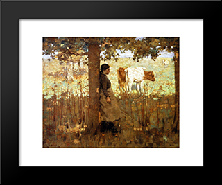 Noon: Modern Black Framed Art Print by George Henry