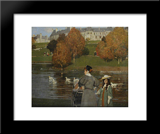 Nursemaid In Kelvingrove Park: Modern Black Framed Art Print by George Henry