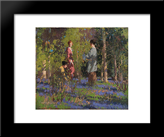Picking Bluebells: Modern Black Framed Art Print by George Henry
