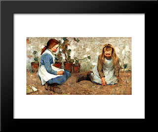 Playmates: Modern Black Framed Art Print by George Henry