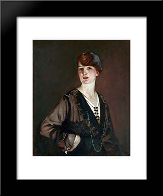 Portrait Of A Lady In Black: Modern Black Framed Art Print by George Henry