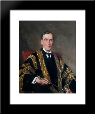 Sir Humphry Davy Rolleston, Seated, Holding A Mace: Modern Black Framed Art Print by George Henry