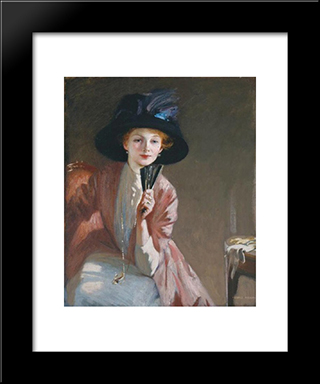 The Black Hat: Modern Black Framed Art Print by George Henry