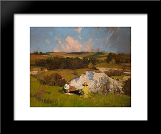 The Chalk Pit: Modern Black Framed Art Print by George Henry