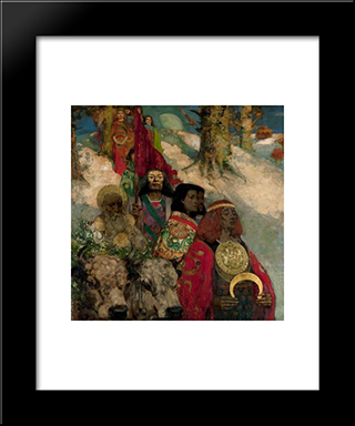 The Druids Bringing In The Mistletoe (Collaboration With Edward Atkinson Hornel): Modern Black Framed Art Print by George Henry