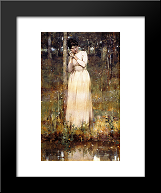 The Girl In White: Modern Black Framed Art Print by George Henry