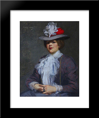 The Grey Hat 1902: Modern Black Framed Art Print by George Henry